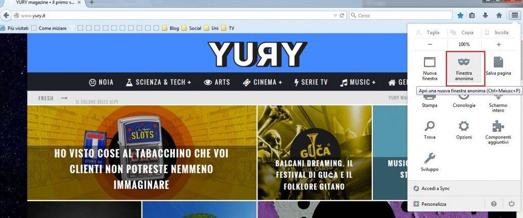 Il menù principale di Firefox in alto a destra